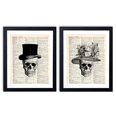 Vintage Dictionary Art Print Two Set | skull decor Gentleman Lady Hat | Wall Art Room Decor 8x10 inch Unframed