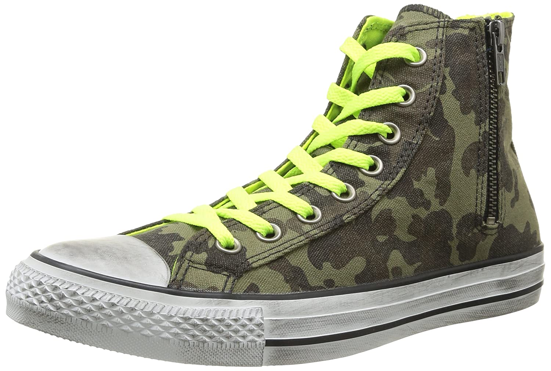 Converse All Star Green Hi Side Zip Canvas Unisex-Erwachsene Sneaker Green Star Cm/N.yellow Distressed 093c22