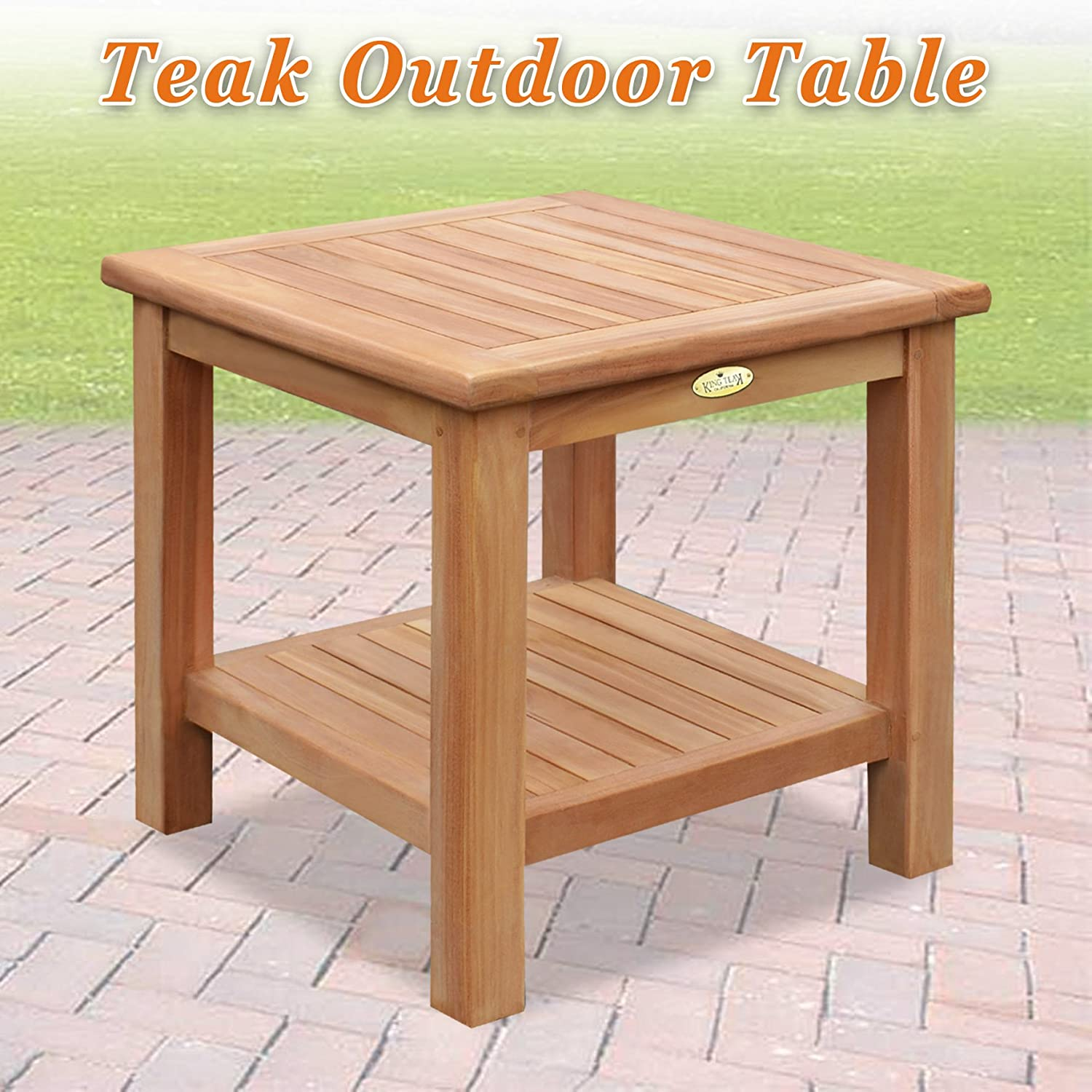 Amazon com strong camel teak wood side table with shelf 19 7 square size furniture garden outdoor