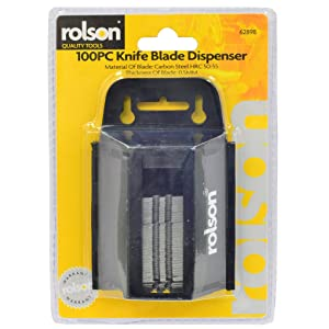 Rolson 62898 Utility Knife Blade and Dispenser - 100 Pieces