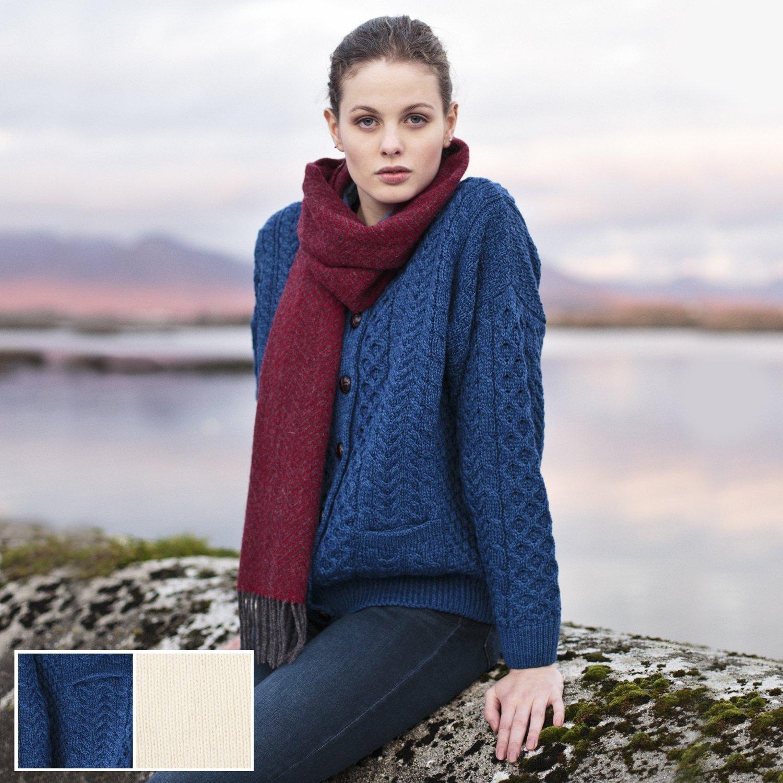 Carraig Donn 100% Irish Merino Wool Ladies Blue Lumber Sweater with Pockets.