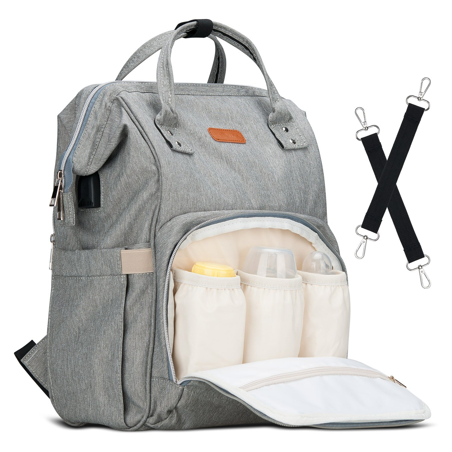 Diaper Bag Backpack Lychee Multi-Function Waterproof Outdoor Travel Large Capacity Diaper Nappy Bags for Baby Care,Best Ideal Stylish Bags for Mommy and Daddy (Grey)