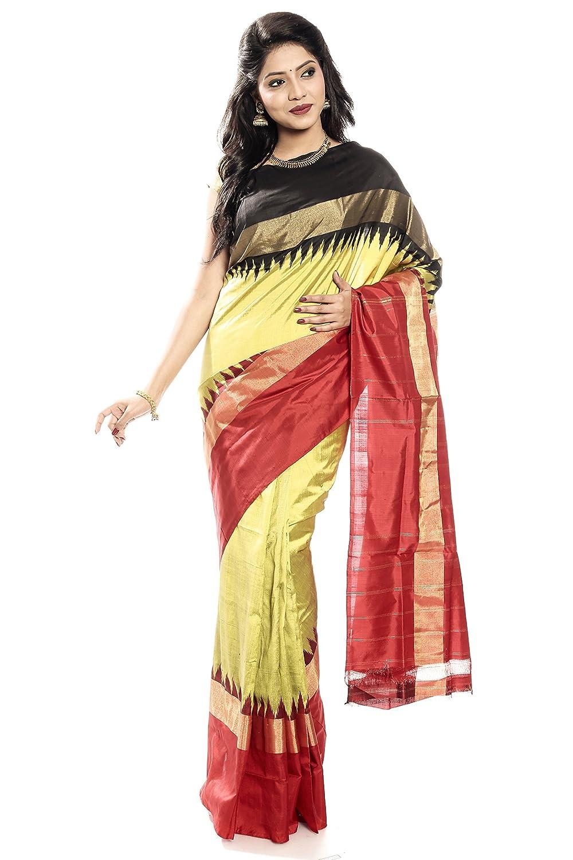 Mandakini — Indian Women's Handloom  Ikat Pure Silk Saree (BlackRed) (MK319)