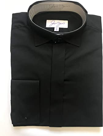 Jean Yves Camisa Negra Victoriana de ala Ajustada Negro Negro ...
