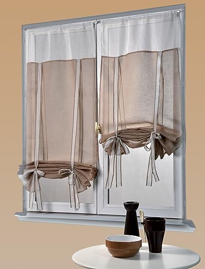 Homemaison HM69812445 - Coppia di tende arricciabili in lino, due ...