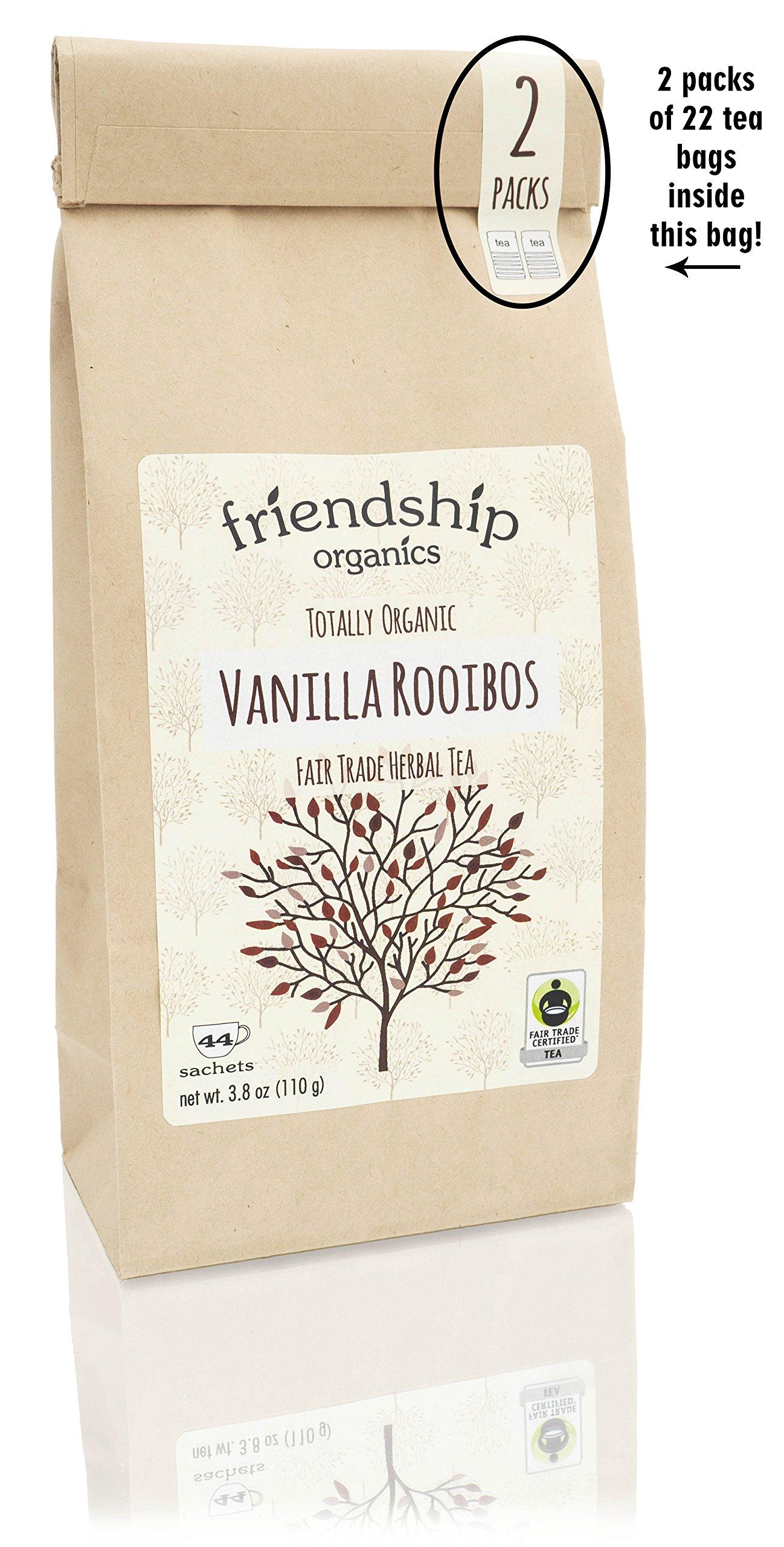 Friendship Organics Vanilla Rooibos, Totally Organic and Fair Trade Herbal Tea in Tagless Tea Bags (44 count)