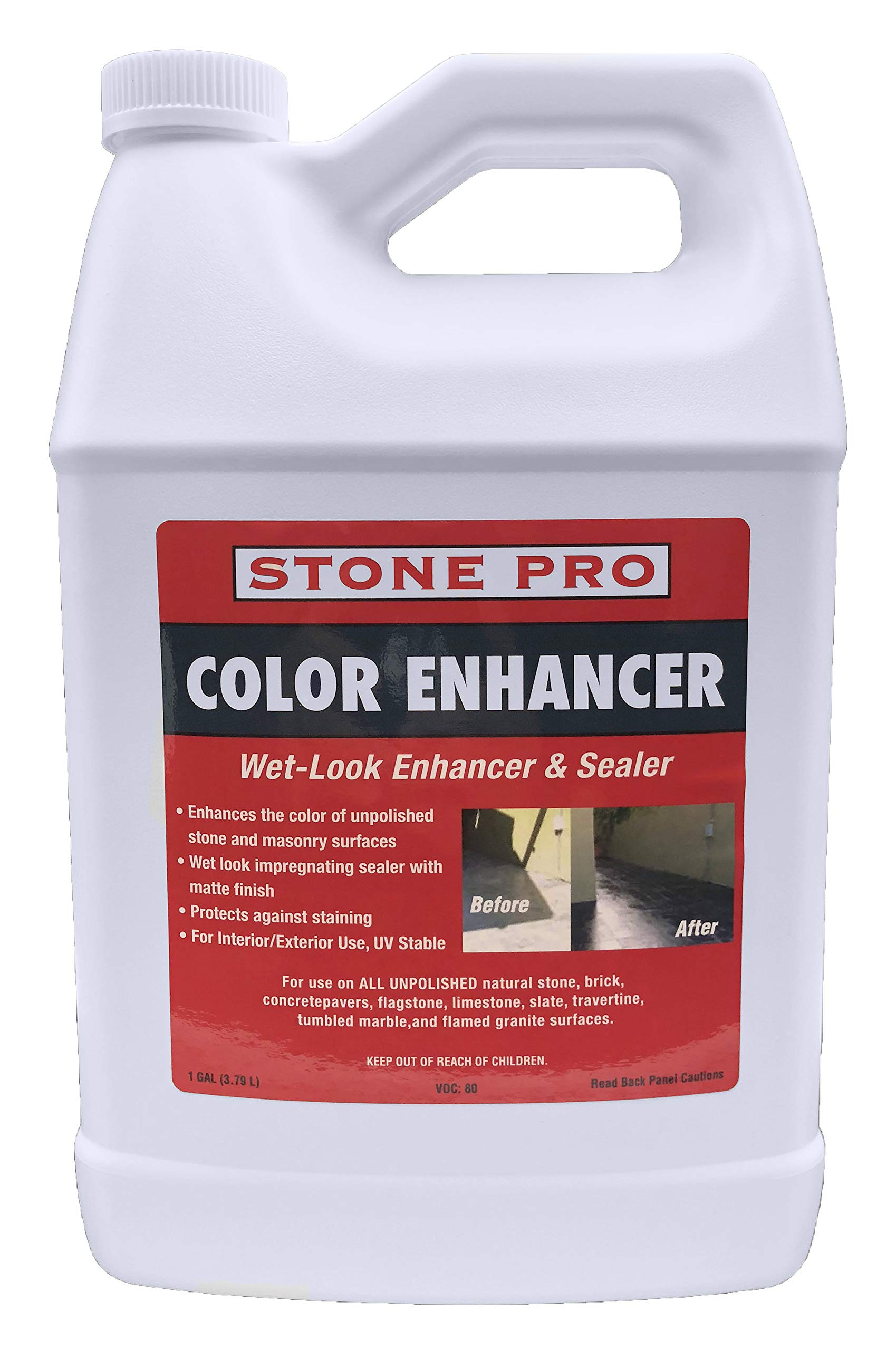 Stone Pro Color Enhancer - Unpolished Stone Sealer and Enhancer - 1 Gallon by Stone Pro