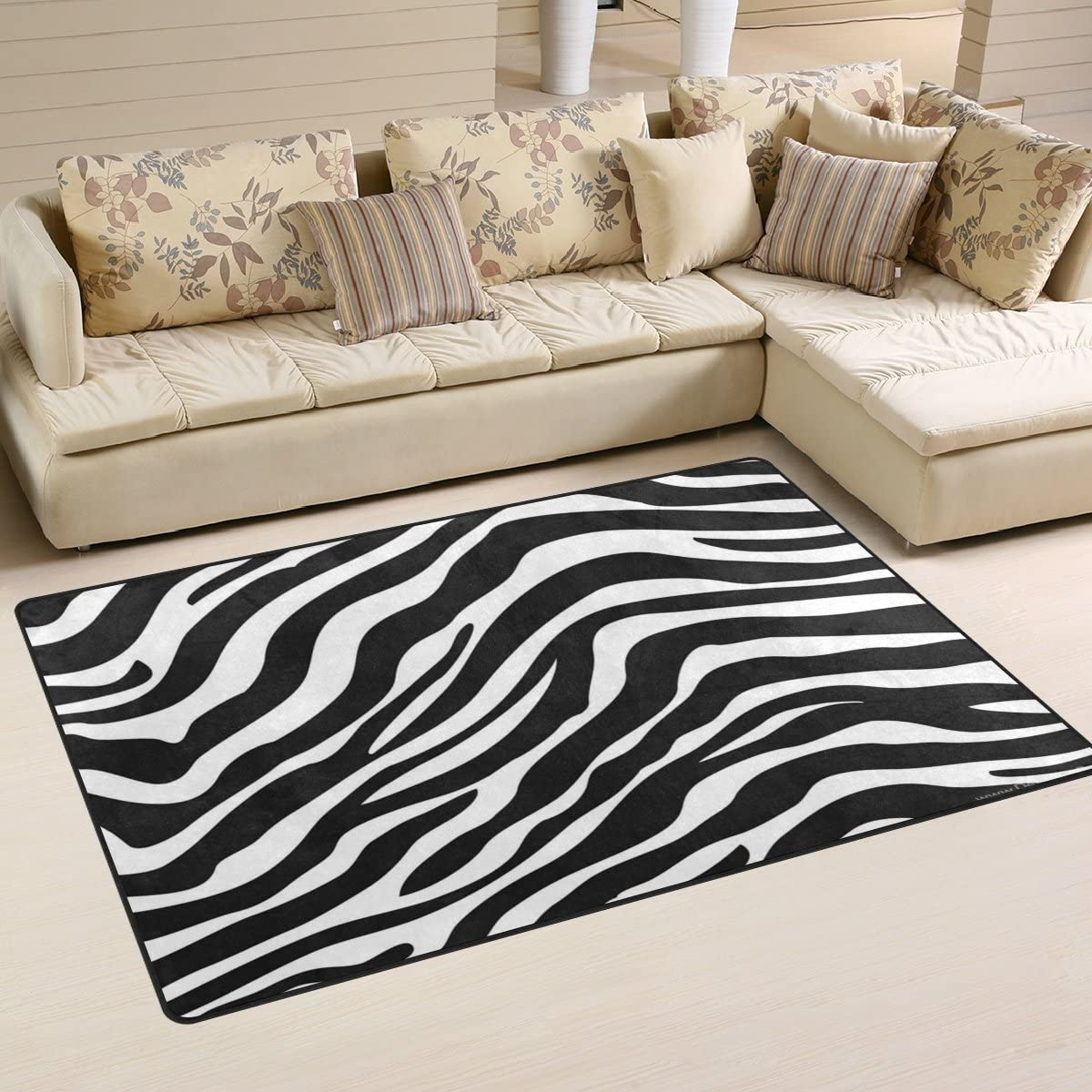 TSWEETHOME Doormat Area Rugs Outdoor Inside Mats Personalized Welcome Mats with Skin Zebra Print for Chair Mat and Decorative Floor Mat for Office and Home 31 x 20 in 60 x 39 in