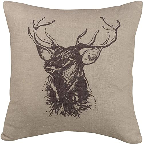 HiEnd Accents Fairfield Elk Bust Throw Pillow, 18 x 18 , Tan Brown