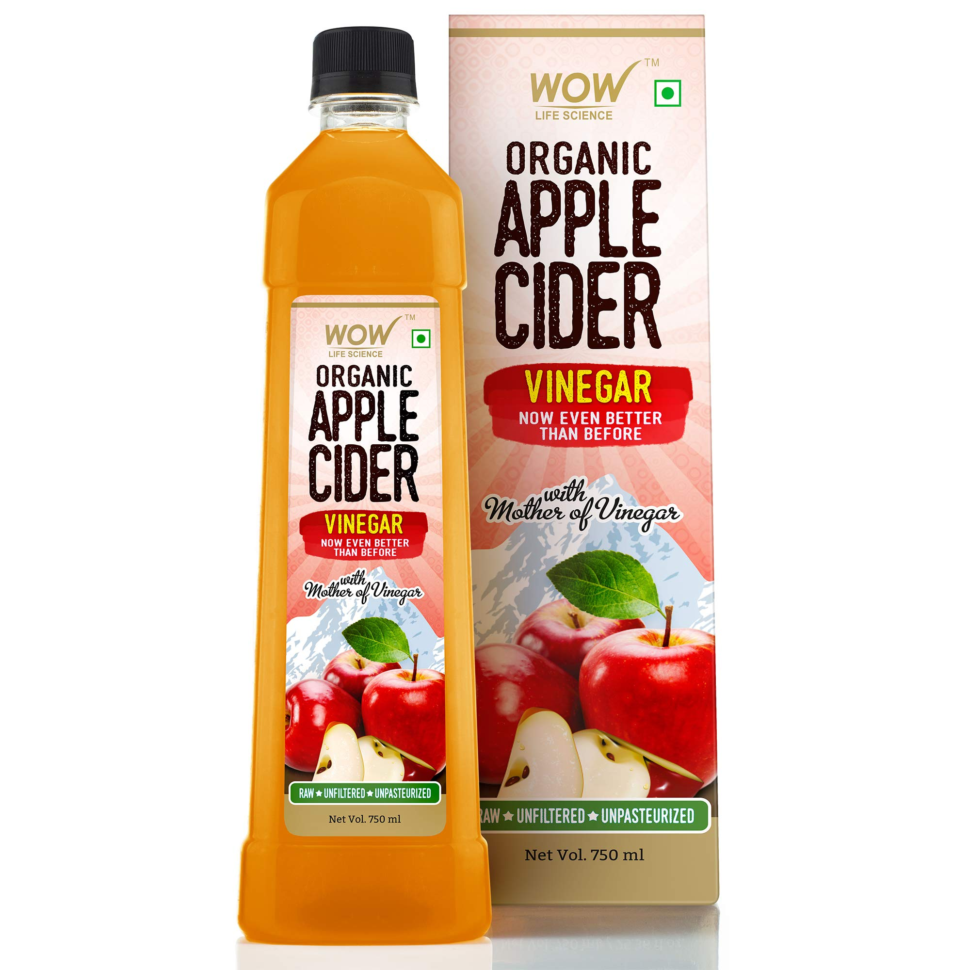 WOW Life Science Organic Apple Cider Vinegar - with strand of mother - not from concentrate – 750 ml product image