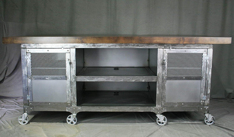 Amazon.com: Industrial Modern Kitchen Island with Storage ...