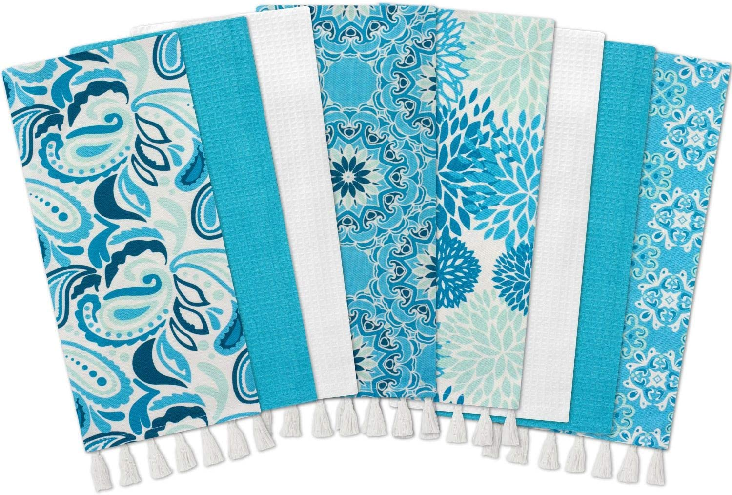 Gourmet Club Flat Woven Phrase Kitchen Towels 8-Pack