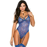 Elegant Moments Women's Plus Size Mesh Net Cupless and Crotchless Teddy
