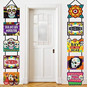 Day of the Dead Decoration Dia de los Muertos Banner Laminated Day of the Dead Signs Indoor Outdoor Mexican Decoration Party Welcome Porch Sign Paper Cutouts