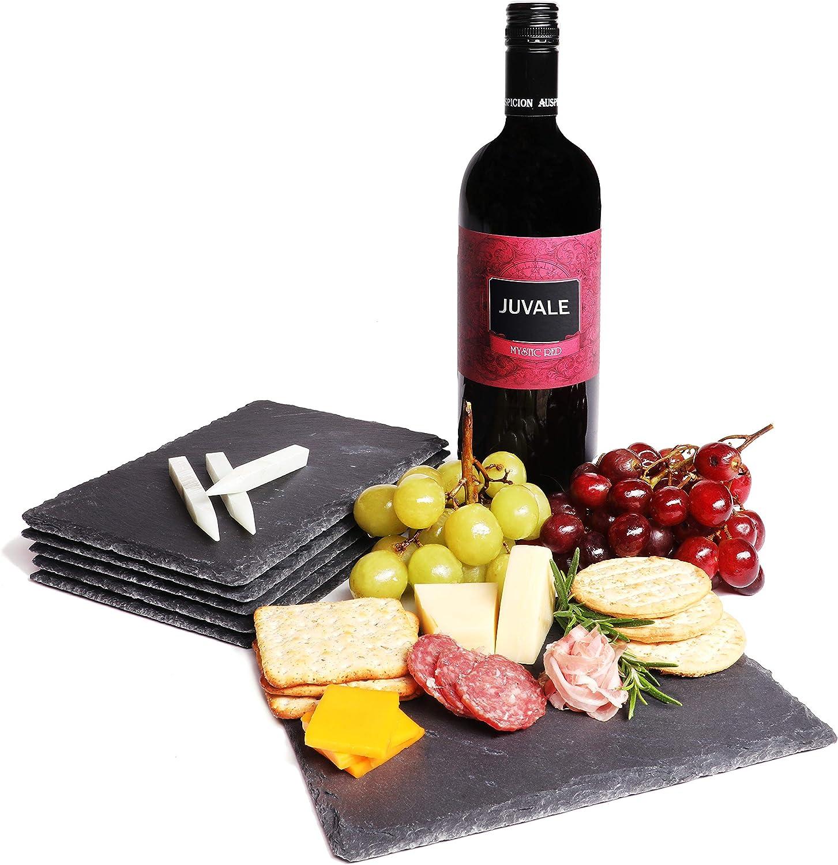 Mini tablas de pizarra para queso (juego de 6 piezas), tablas de charcutería, queso y carne, para uso doméstico, restaurante y café (3 tizas incluidas) – 6 x 0.1 x 8.75 pulgadas