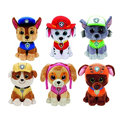Ty Paw Patrol Beanie Babies - Set of 6! Marshall, Chase, Skye, Rocky, Rubble and Zuma!: Toys & Games