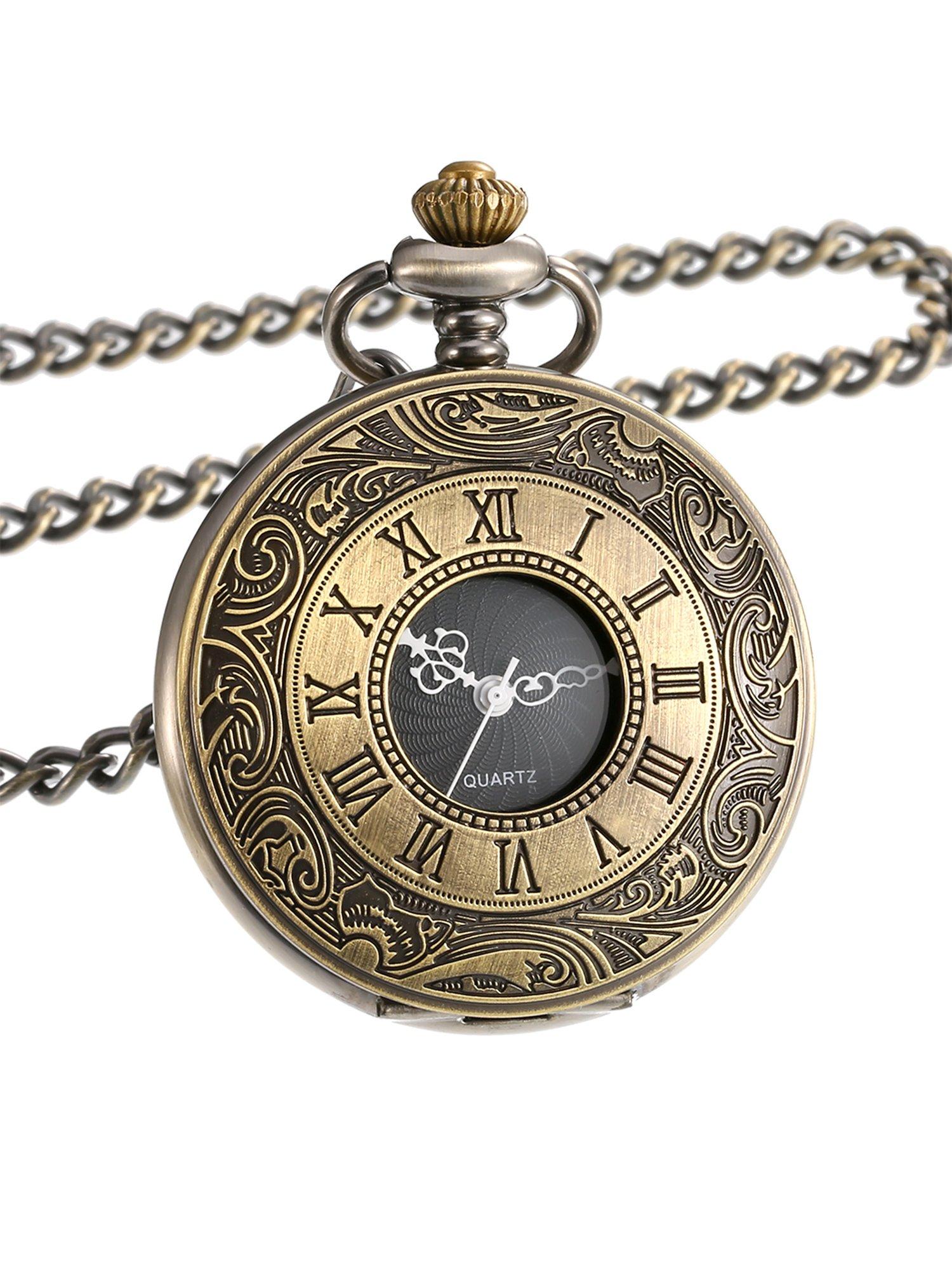 Mudder Vintage Roman Numerals Scale Quartz Pocket Watch with Chain (Bronze) Mudder Vintage Roman Numerals Scale Quartz Pocket Watch with Chain (Bronze)
