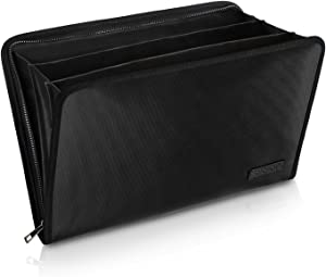 "Expanding File Folder Important Document Organizer Fireproof and Waterproof Document Bag with A4 Size 3 Pockets Zipper Closure Non-Itchy Silicone Coated Portable Filing Wallet Pouch(14.3"" x 9.8"")"