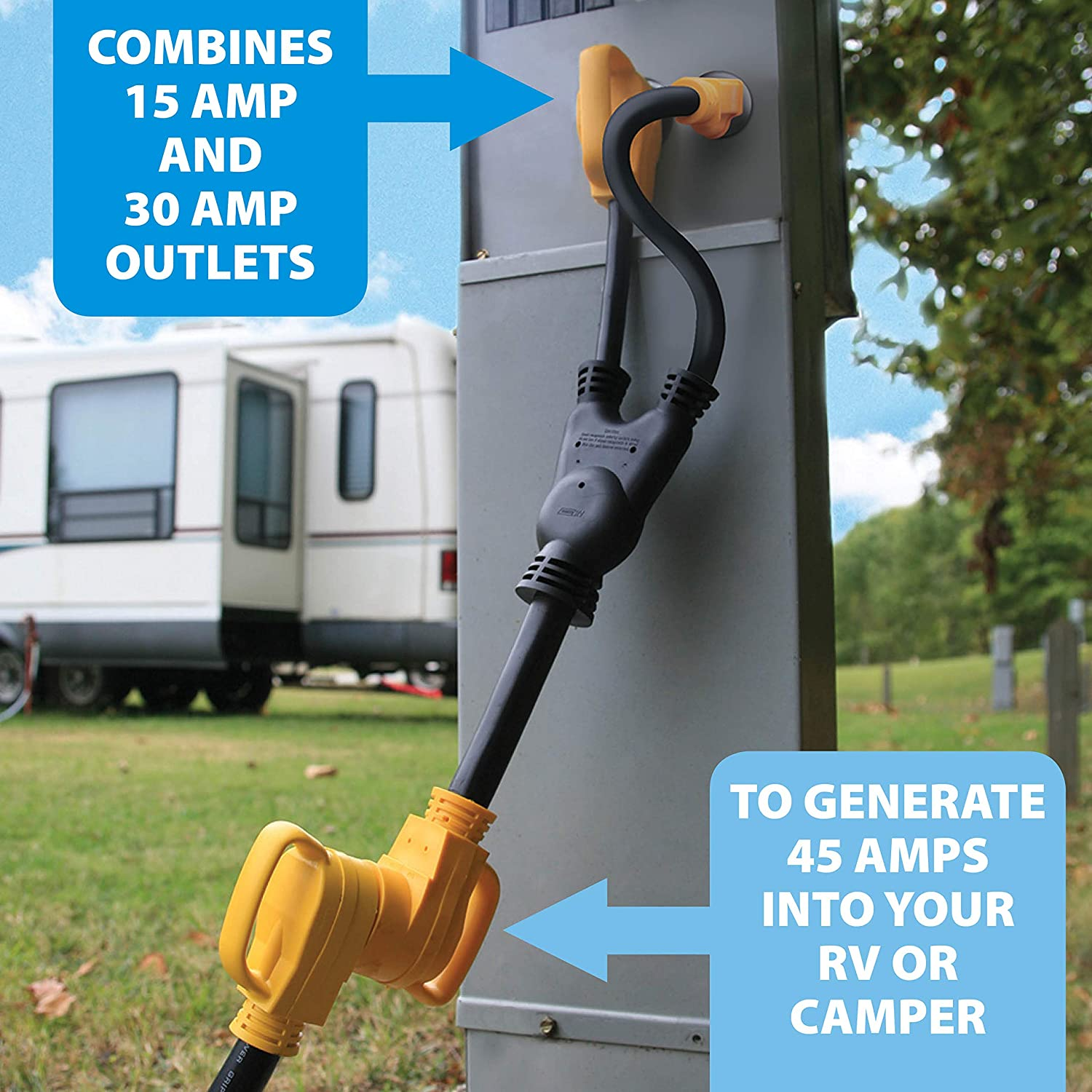 Camco Heavy Duty Powergrip Maximizer 45 Amp Adapter Extension Cord Wiring Diagram In Addition 30 Generator Plug Likewise Combines Power From 15 And Outlets To Generate Amps Into Your Rv Or Camper