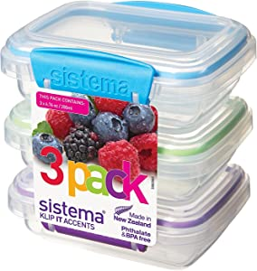 Sistema Klip It Accents Collection Food Storage Containers 6.7 Ounce/.8 cup each, Set of 6, Assorted Colors