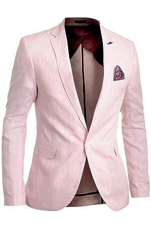 Cipo   Baxx Herren Leinen Blazer Jacke Formal Gestreift Rosa Ellenbogen  Patches Größe 50 3b8bf6556a