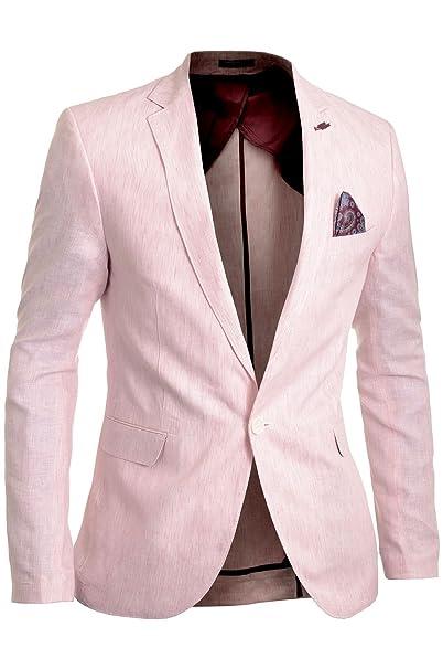 Cipo & Baxx Hombre Chaqueta de lino Casual Formal A rayas Rosado Parches de codo tamaño