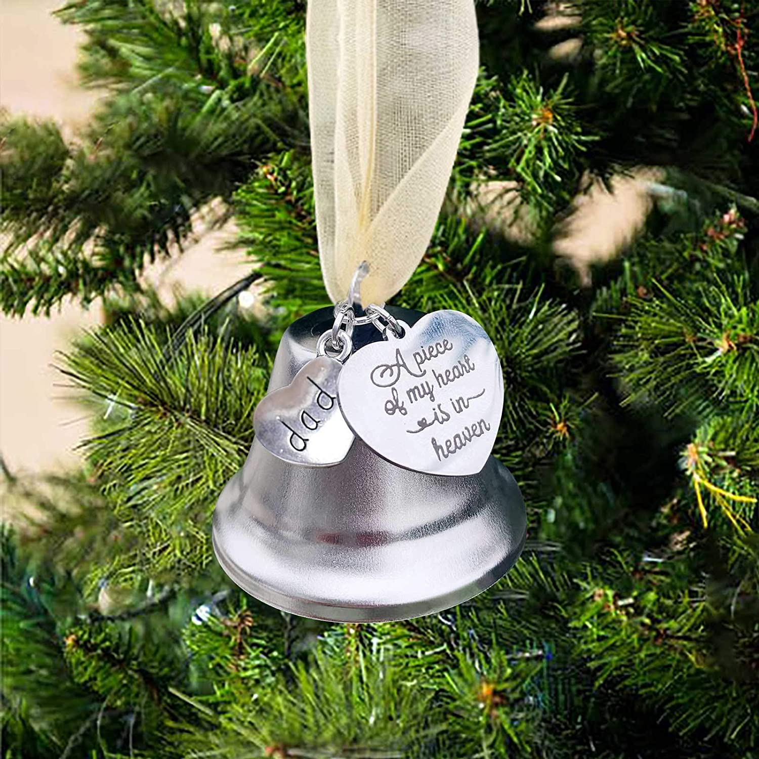 OLOPE Custom Angel Wing Silver Bell,Angel Wing Memorial Ornament Hanging Ornament Pendants for Memorial Remembrance Lost Loved Ones Ornament Keepsake Gift Home Decor Gifts (Father)