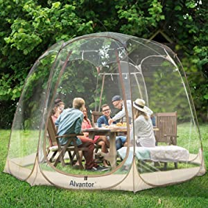 Alvantor Winter Screen House Room Camping Tent Canopy Gazebos 8-10 Person for Patios, Large Oversize Weather Pod, Premium Greenhouse Instant Pop Up Tent, Snow and Rain Protection Beige 12'×12'