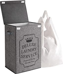 YOUDENOVA Laundry Hamper with Lid and Removable Bags Washable Liner - Large Foldable Collapsible Laundry Basket - Grey 72L