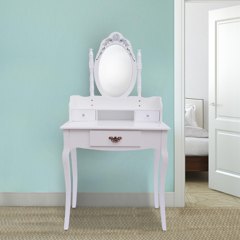 Tocador + Espejo Y Taburete Color Blanco Mueble De Maquillaje Para ...