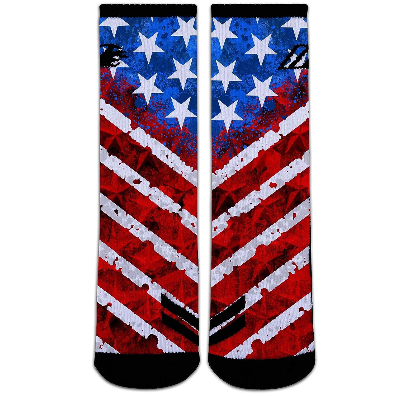 NEVER SURRENDER Sock Motto Patriotic American Flag Socks Mens Athletic Crew Socks