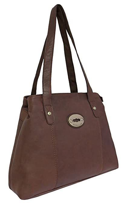 debea472d4 Rowallan Women s Brown Leather Shoulder Bag  Amazon.co.uk  Luggage