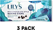 Milk Chocolate Baking Chips By Lily's Sweets | Stevia Sweetened, No Added Sugar, Low-Carb, Keto-Friendly | Fair Trade, Glute