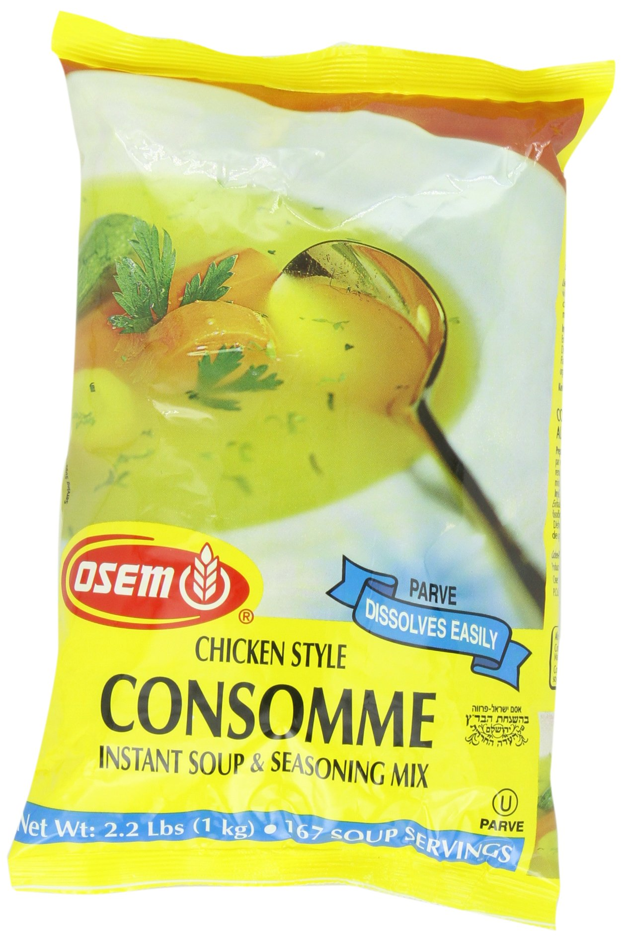 Osem Consomme Soup & Seasoning Mix, Chicken Style, 2.2 Pound (Pack of 5)