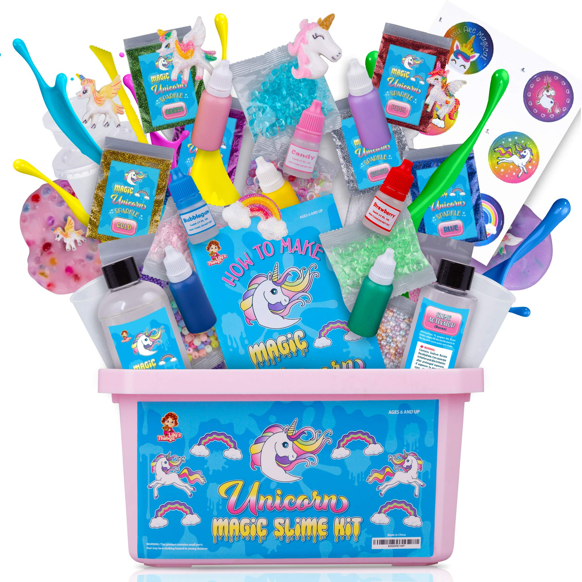 Unicorn Slime Kit for Girls - Slime Kits with Everything in One Box - Unicorn Poop Slime Kit with Unicorn Charms - Unicorn Toys for Girls by Lily's Things