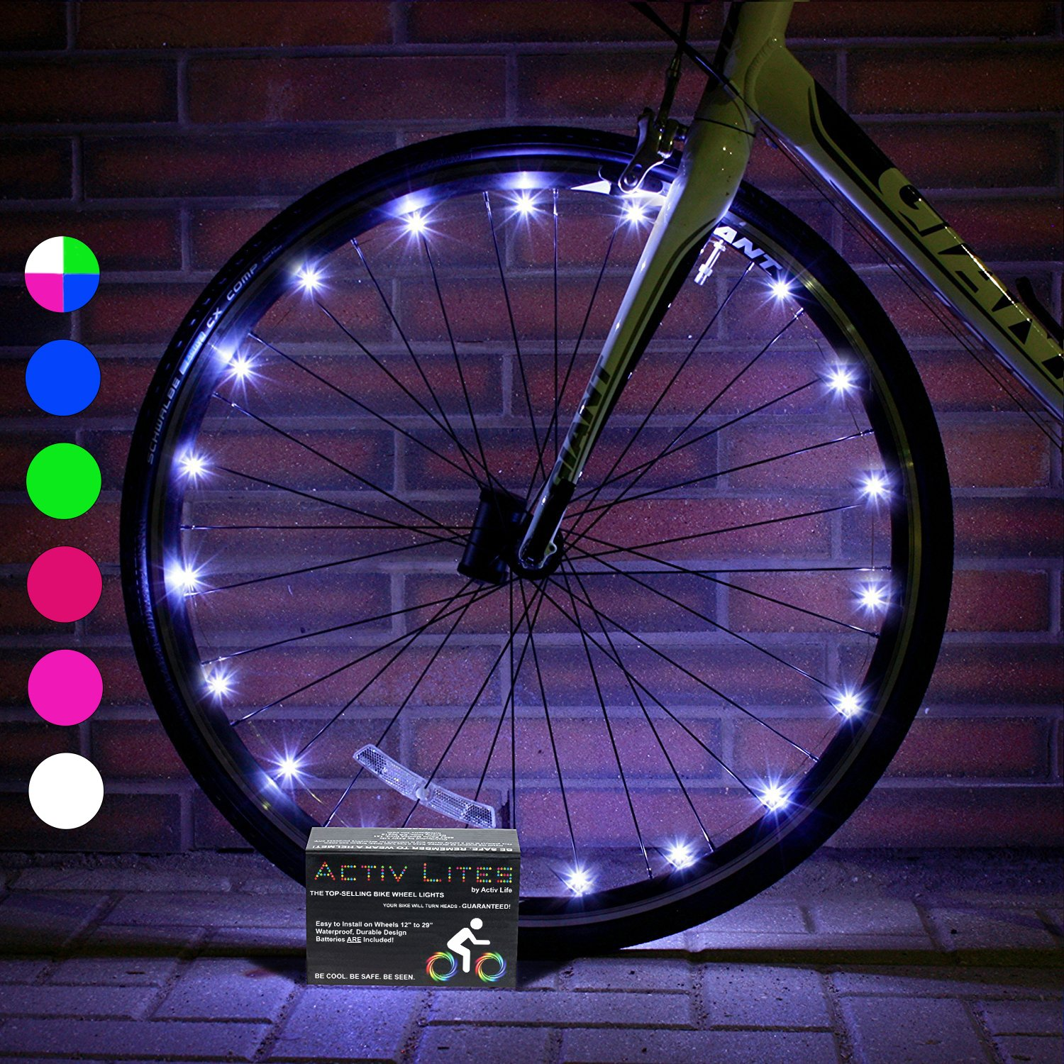 Activ Life Bike Lights (1 Tire, White) Hot Wheels for Boys, Girls & Fun Gift Ideas for Him and Her - Popular Bicycle Decorations for Bright Safety & Cool Style - LED Bulbs - Day & Night Street Track