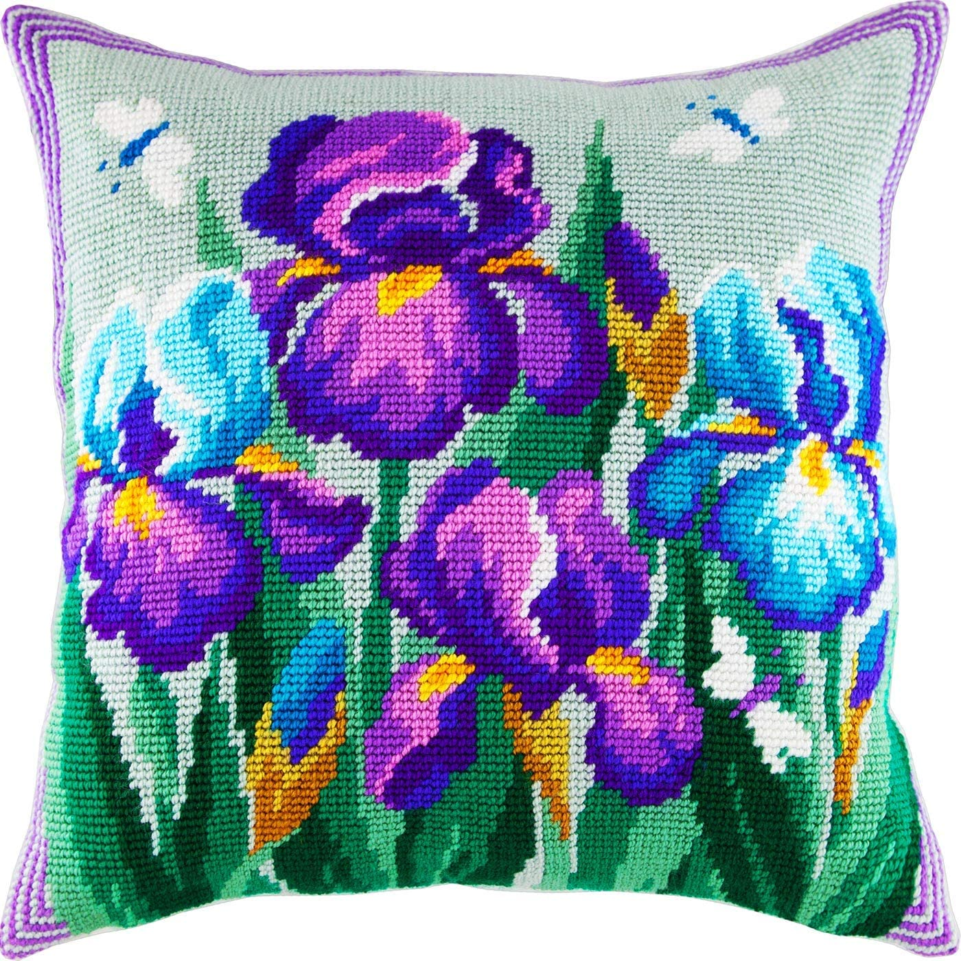 European Quality Throw Pillow 16/×16 Inches Cushion Back Included Printed Tapestry Canvas White Lilies Needlepoint Kit