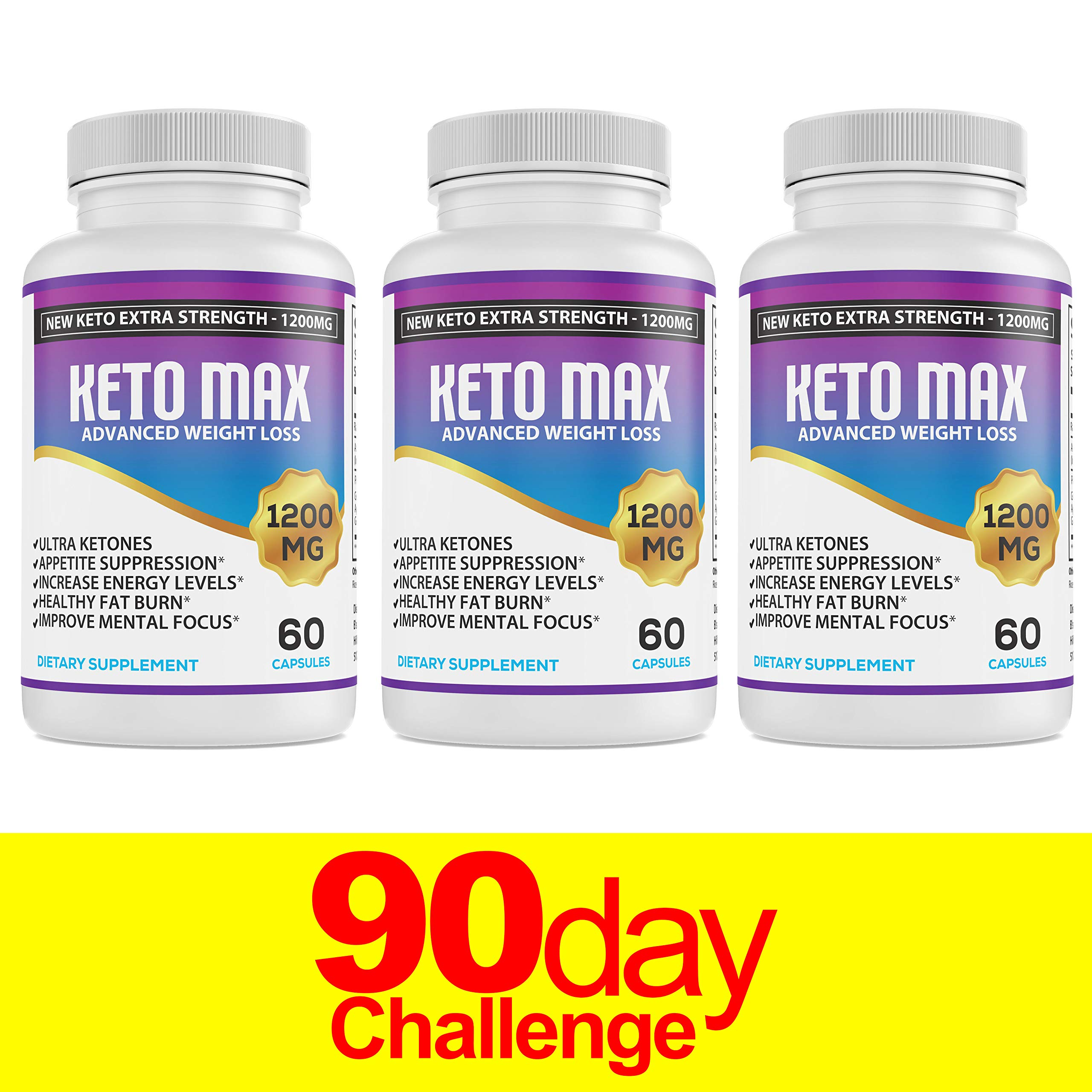 Keto Diet Pills - (1200mg 90 Day Supply) Weight Loss Fat Burner for Women & Men, Perfect Exogenous Ketones Supplement Burners by Keto Extra Strength 1200
