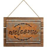 Brownlow Gifts Rustic Metal and Wood Sign, Welcome