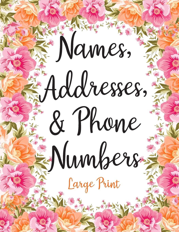 Names Addresses \u0026 Phone Numbers Large Print Cute Pink