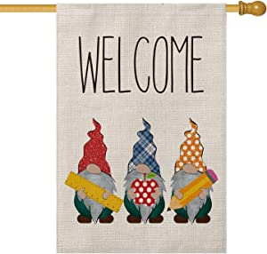 AVOIN Welcome Gnome House Flag Double Sided Buffalo Check Plaid, Polka Dot Apple Ruler Pencil Back to School First Day of School Yard Outdoor Decoration 28 x 40 Inch
