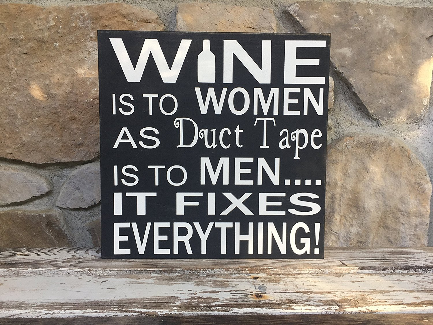 PotteLove Wine is to women as duct tape is to men 12''x12'' Wood Plank Hanging Sign