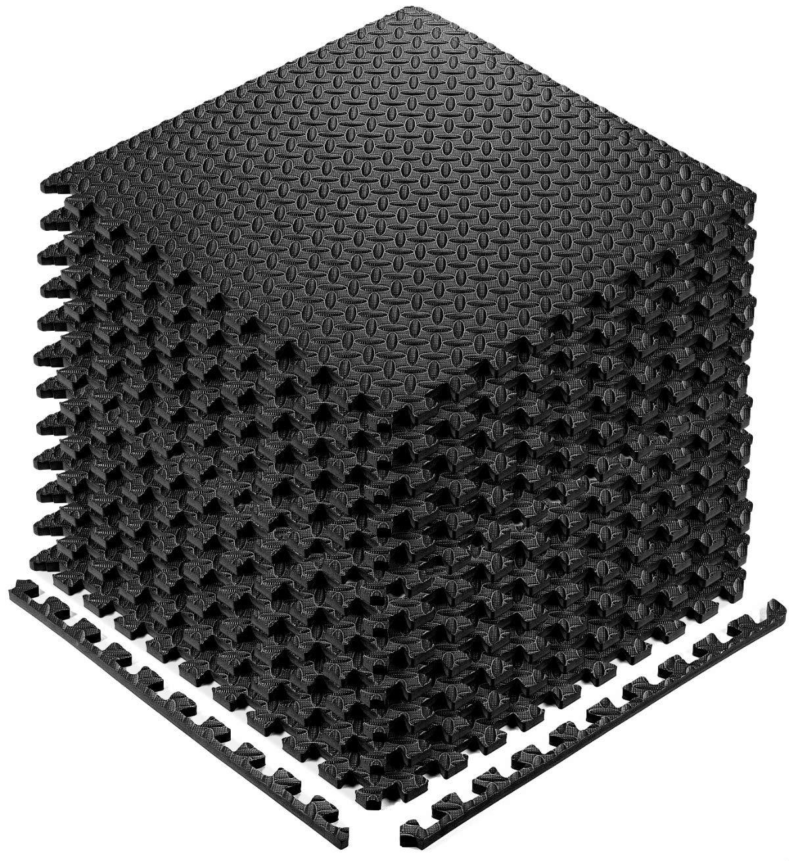 YOGU Puzzle Exercise Floor Mat EVA Interlocking Foam Tiles 12 Tiles Covers 48 SQ Foot Exercise Equipment Mat Protective Flooring for Home Gym (Black)
