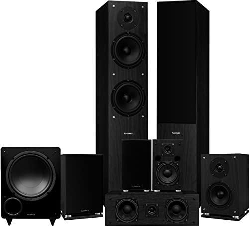 Fluance Elite Series Surround Sound Home Theater 7.1 Channel Speaker System Including Floorstanding, Center Channel, Surround, Rear Surround Speakers, and a DB10 Subwoofer – Black Ash SX71BR