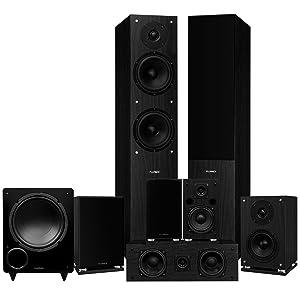 Fluance Elite Series Surround Sound Home Theater 7.1 Channel Speaker System Including Floorstanding, Center Channel, Surround, Rear Surround Speakers, and a DB10 Subwoofer - Black Ash (SX71BR)