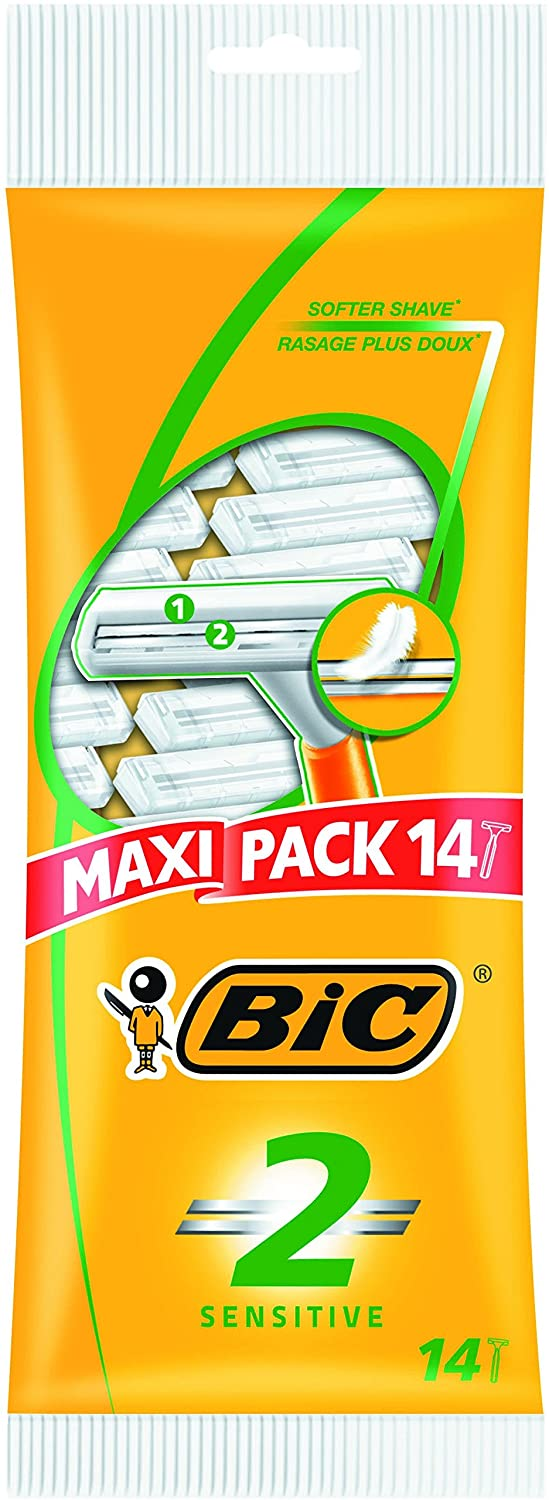 BIC 2 Sensitive Men's Razors - Pack of 14 811045