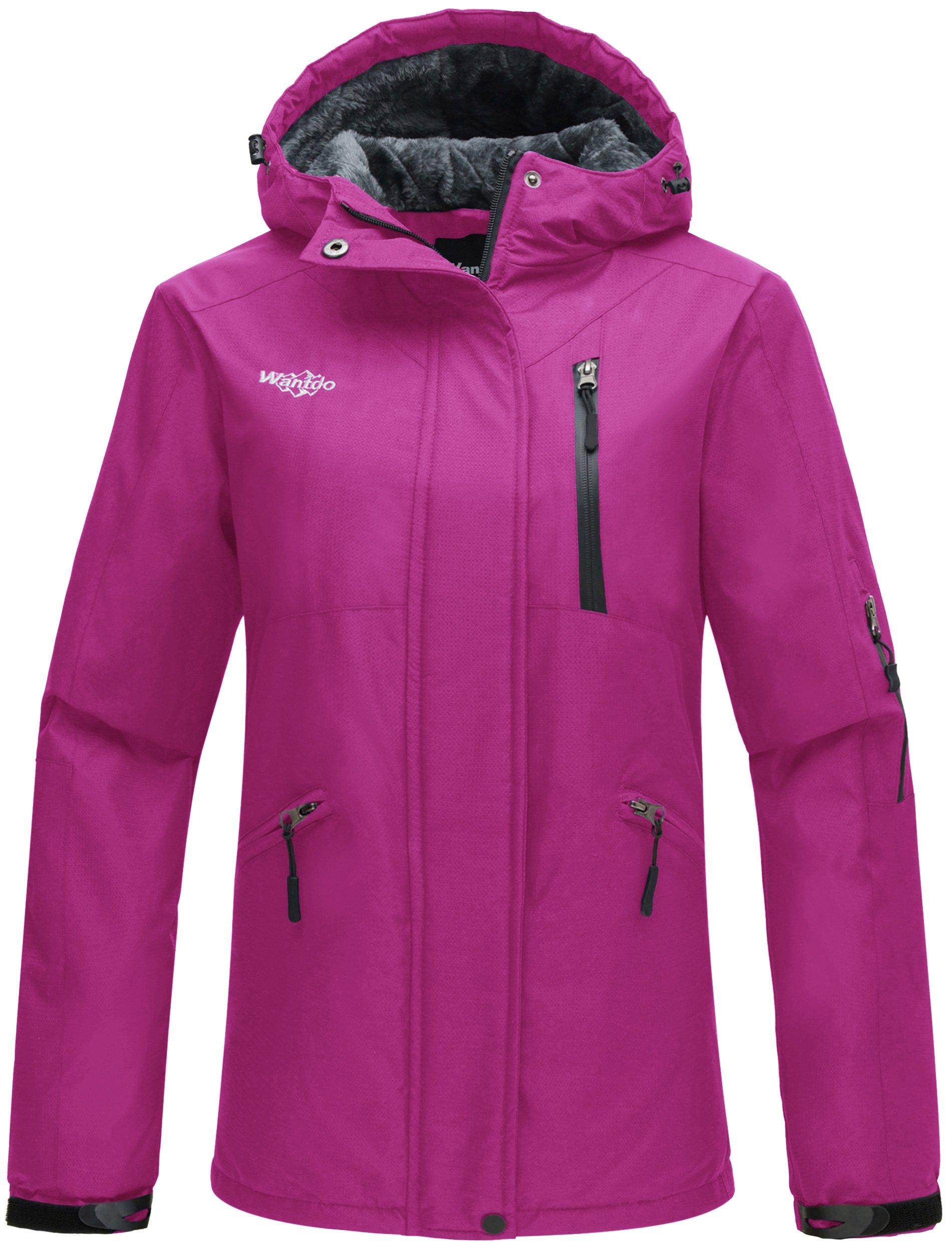Wantdo Women's Hooded Windproof Ski Jacket Fleece Winter Coat Rose Red US X-Large
