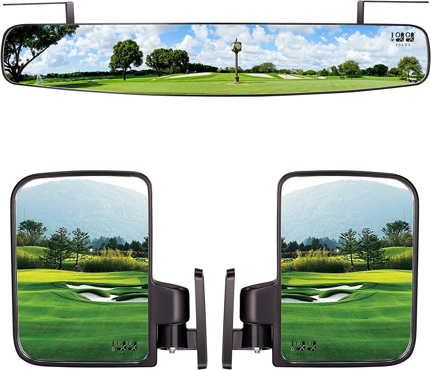 "10L0L Newest Golf Cart Folding Side Mirrors and Rear View Mirror 16.5"" Extra Wide Panoramic Golf Cart Mirrors Fits for Club Car EZGO Yamaha Combo Pack"