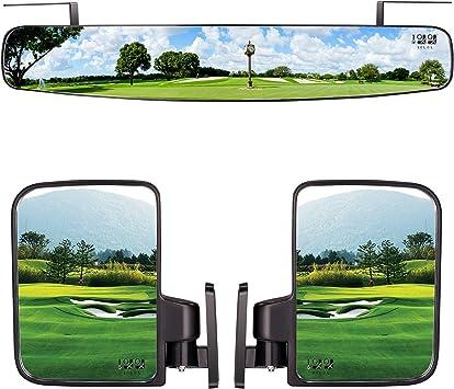 10l0l Klappbarer Seitenspiegel Und Rückspiegel Für Golfwagen 41 9 Cm Extra Breit Panorama Golfwagenspiegel Passend Für Schläger Auto Ezgo Yamaha Kombi Pack Sport Freizeit