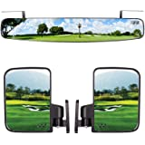 "10L0L Newest Golf Cart Folding Side Mirrors and Rear View Mirror 16.5"" Extra Wide Panoramic Golf Cart Mirrors Fits for Club C"